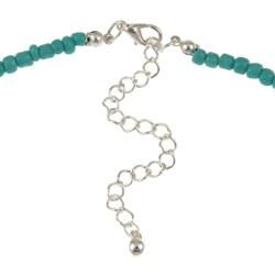 Crystale Silvertone Turquiose Stone Necklace