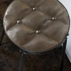 Set of 2 Metal Tufted Counter Stools (India)