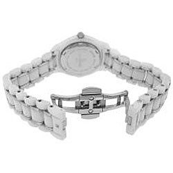 Le Chateau Women's All White Ceramic Watch with Zirconia Studded Bezel