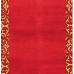 Persian Hand knotted Magenta/ Beige Mashad Wool Rug (210 x 158