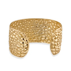 Mondevio 18k Gold over Stainless Steel Textured Cuff Bracelet
