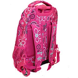 Rockland Pink Bandana Rolling Laptop Backpack