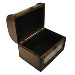 Travel Jewelry & Keepsake Box in Aged Mahogany & Old Leather Map (Set of 2)