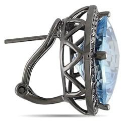 Miadora 14k White Gold Blue Topaz and 3/4ct TDW Black Diamond Earrings
