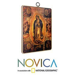 Pinewood 'Our Lady of Guadalupe' Decoupage Wall Adornment (Mexico)