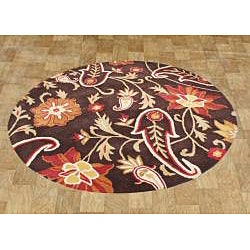 Alliyah Handmade Chocolate Brown New Zealand Blend Wool Rug (6' Round)