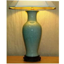 Light Blue Porcelain Crackle Table Lamp