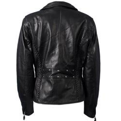 Leather Women's Braided Motorcycle Jacket