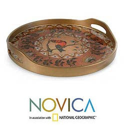 Handcrafted Reverse painted Glass Bird in Autumn Tray (Peru