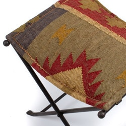 Iron Kilim Cloth Seat Stool (India)