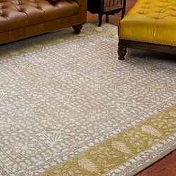 Handmade Majestic Beige/ Light Gold N. Z. Wool Rug (6' x 9')