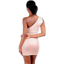 Stanzino Women's Peach One-shoulder Striped Evening Dress