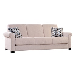 Portfolio Convert-a-Couch Cream Chenille Rolled Arm Futon Sofa Sleeper