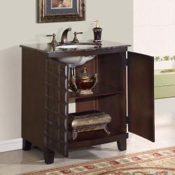 Silkroad Exclusive Single Sink 30.5-inch Granite Top Vanity Cabinet