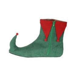 Pleaser Men's Green/ Red Side-zip Microfiber Christmas Elf Boots