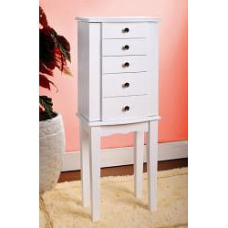 Contemporary Style White Jewelry Armoire Chest