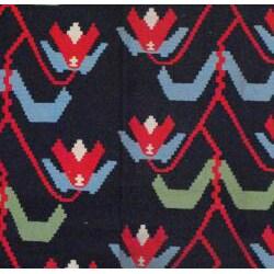 Indo Hand-Woven Kilim Black and Green Wool Rug (7'2 x 10'10)