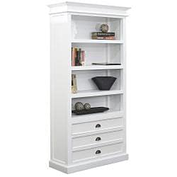 Distressed White Mahagony Wood 4-shelf Bookcase