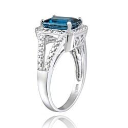 Glitzy Rocks Silver 3 2/5ct TGW London Blue Topaz and Diamond Ring