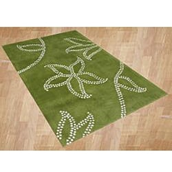 Hand-tufted Floridly Green Wool Rug (5' x 8')