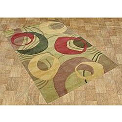 Hand-made Amber Green New Zealand Blend Wool Rug (5' x 8')