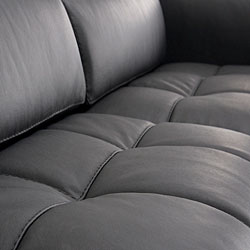 Riviera Black Leather Sectional Sofa