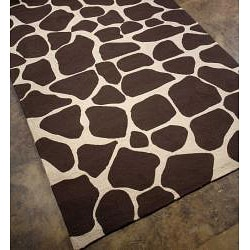 Hand-hooked Brown/ White Rug (3'6 x 5'6)
