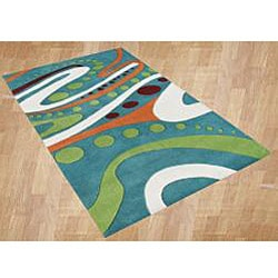 Hand-tufted Aqua Wool Rug (8' x 10')