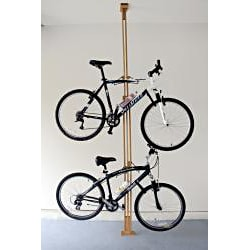 OakRak Floor-to-Ceiling American Red Oak Two Bike Storage Rack