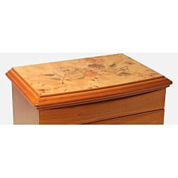 Seya Light Cherry Burlwood Floral Motif Jewelry Box