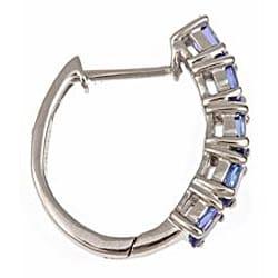 D'Yach Sterling Silver Tanzanite Hoop Earrings