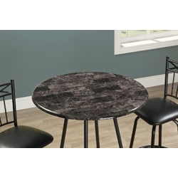 Metal Charcoal-Finish Faux Marble Bar Table