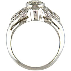 14k White Gold 1 1/6ct TDW Certified Clarity-enhanced Round Diamond Engagement Ring (K-L,VS2 )