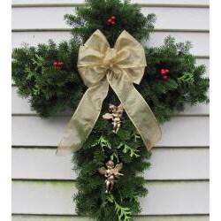Fresh Balsam 24-inch Cross Wreath