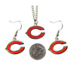 Aminco International Chicago Bears Necklace and Dangle Earring Charm Set