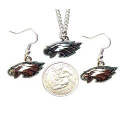 Philadelphia Eagles Necklace and Dangle Earrings Charm Set