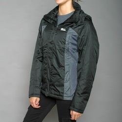 First Down Women's Black Two-tone Hooded Tech Jacket