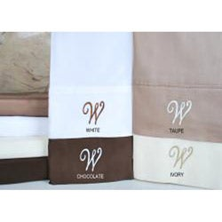 Egyptian Cotton 300 Thread Count Solid Script 'W' Monogram Sheet Set