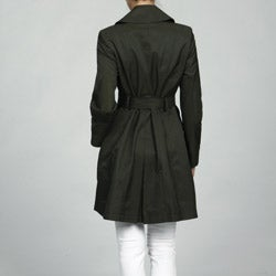 DKNY Women's Petite Double-breasted Belted Rain Trench Coat