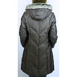 Utex Women's Chocolate Hooded Down-blend Coat