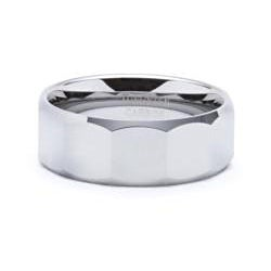 Men's Tungsten Carbide Faceted Design Ring (8 mm)