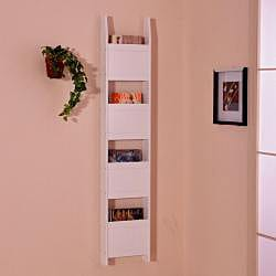 White Wall Leaning Magazine 4-Tier Book Shelf