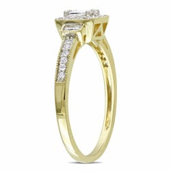 Miadora 10k Yellow Gold 1/3ct TDW Diamond Halo Ring (G-H, I1-I2)