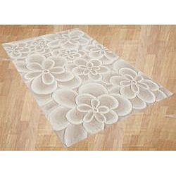 Handmade Bleach Tan Flowers Wool Blend Rug (5' x 8')