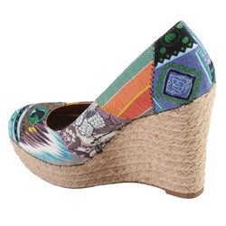 Journee Collection Women's 'Dorine' Patchwork Canvas Wedges