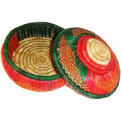 Multi-Colored Circular Lid Wicker Basket (Ethiopia)