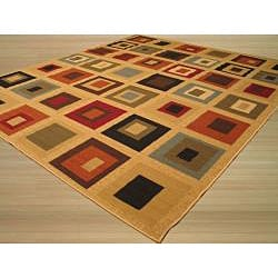 Autumn Squares Brown Rug (7'10 x 9'10)
