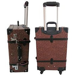 Amerileather Brown Paisley Floral Vintage 23-inch Spinner Trunk Upright