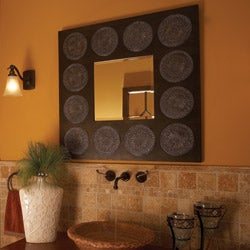 Rita Black Wood Medallion Mirror