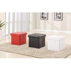 White Folding Cube Storage Ottoman